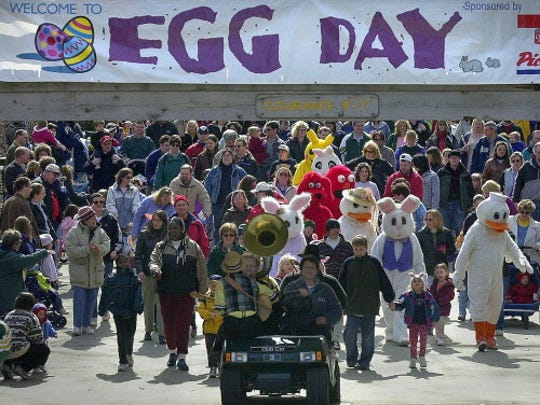 An Easter parade is one of the festivities at the Milwaukee County Zoo egg day.