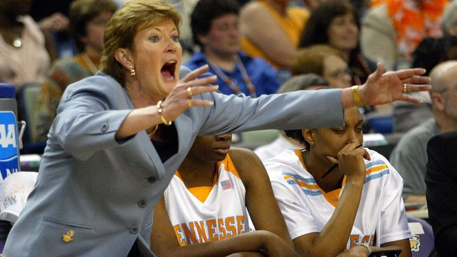 Tennessee head coach Pat Summitt during the NCAA championship game against Connecticut at the New Orleans Arena in 2004.