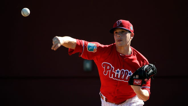 Phillies pitcher Jeremy Hellickson allowed no hits and threw nine pitches against three batters in the Phillies' 8-3 win against Division II University of Tampa on Sunday.