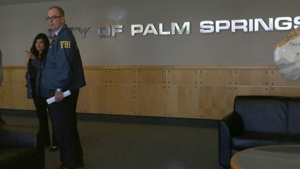 The public corruption task force made up of the FBI, District Attorney's Office and the IRS raid Palm Springs City Hall, Tuesday, September 1, 2015.