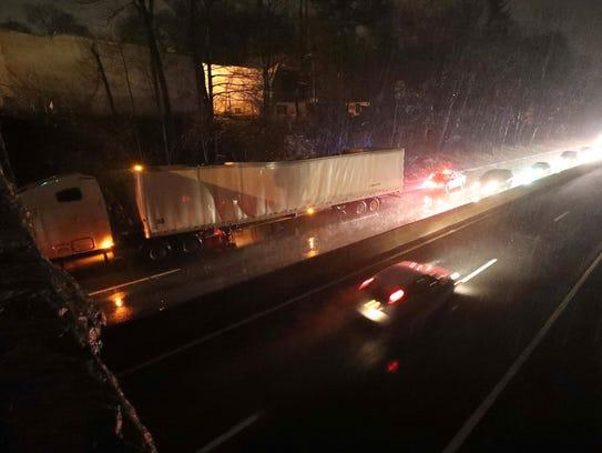 A tractor trailer hit the East Lincoln Avenue bridge