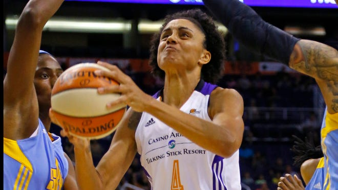 Phoenix Mercury forward Candice Dupree (4) became just the 22nd player in WNBA history to reach 4000 points during first quarter action against the Chicago Sky in their WNBA game  Wednesday, July 2, 2014 in Phoenix, Ariz.