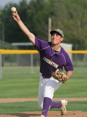 Lexington's Jared Strickler pitches during a home game on Friday against Tiffin Columbian.