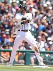 Nick Castellanos after his triple against the Giants in the second inning of the Tigers' 6-2 win July 6, 2017 at Comerica Park.