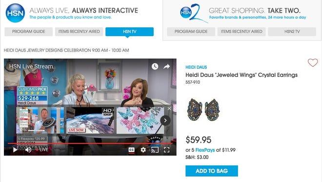 A screen shot of HSN live on HSN.com.