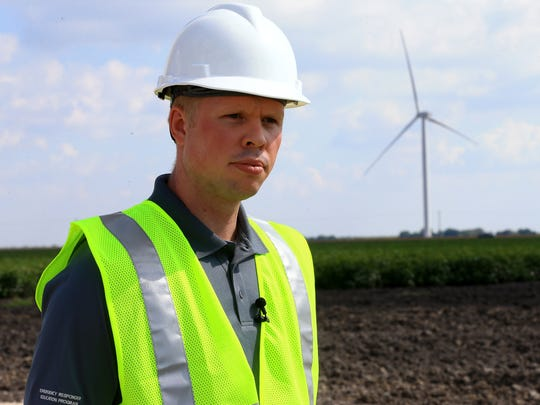 Rob Jozwiak, manager of South Region Power Operations for Enbridge Inc., talks to the media about the wind turbines during a tour Tuesday, Aug. 1, 2017, of the wind farm located off Farm-to-Market Road 70 near Chapman Ranch.