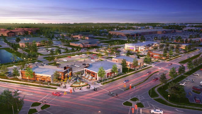 A rendering of the retail space and restaurants that are planned to be constructed at Veteran's Parkway.