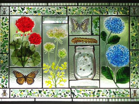 Stained glass pieces, such as this window by Karen and Geoff Caldwell of Sunflower Glass Studio in Stockton, will be on display at the 26th annual Spring CraftMorristown show.  The event, produced by Artrider Productions, returns to the Morristown Armory March 11 through 13.