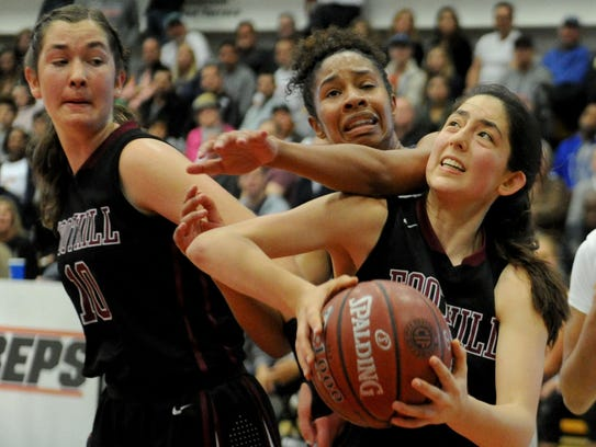 Foothill Tech's Emiline Bova gets a screen from Abigail