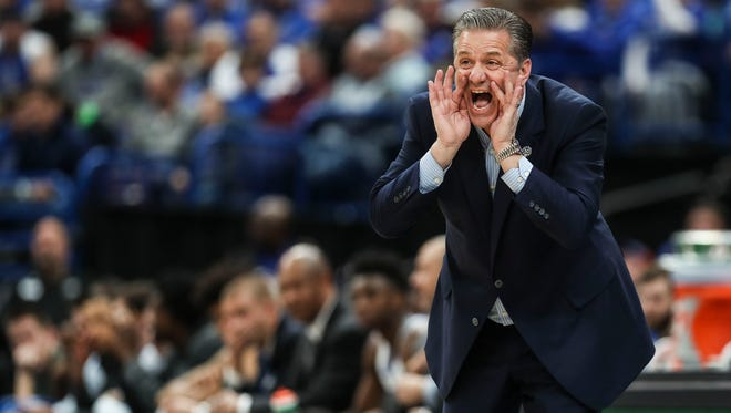 """UK's John Calipari coaching at Friday's 2018 SEC Tournament. Calipari said about UGA's Mark Few:  """"Let's just hope that Georgia looks at this and looks at a bigger picture and says, you know what, it's in good hands. There's a lot of stuff going on out there, stuff that's not going on at Georgia. They're in good hands. That has to mean something."""""""