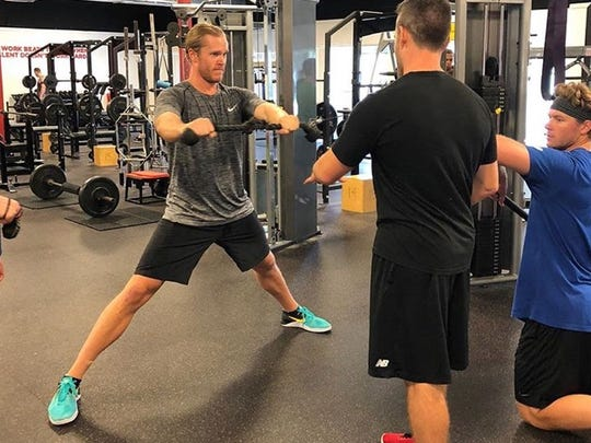 Noah Syndergaard works out at Cressey Sports Performance in Jupiter, Fla.