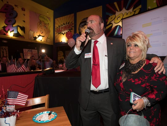 Newly elected mayor Joe Coviello addresses his supporters