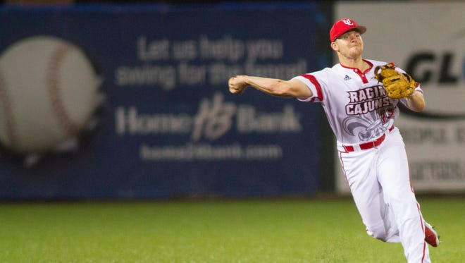 UL shortstop Joe Robbins makes a throw against the University of New Orleans on Tuesday night.