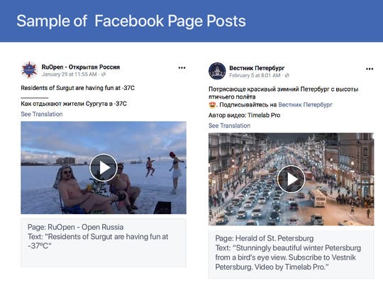 Samples of Facebook posts used on the social network