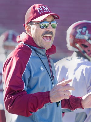 New Mexico State defensive coordinator Frank Spaziani