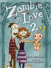 """""""Zombie in Love 2 +1"""" by Kelly DiPucchio tells the story of a human couple who raise a zombie baby."""