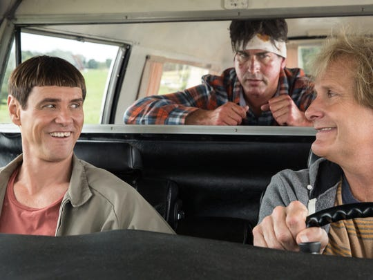 Jim Carrey, from left, Rob Riggle and Jeff Daniels in 'Dumb and Dumber To.'
