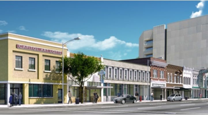 Artist rendering of Capitol Art Lofts on West Capitol Street. Construction began in September and is slated for completion by fall 2017.