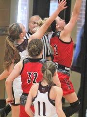 Ludlow junior Abby Mahan scores a basket last season.