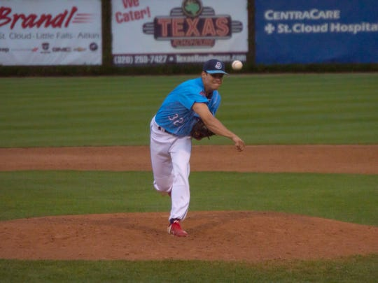 Kyle Boser delivers a pitch for the St. Cloud Rox. Boser, who will be a junior for the St. Cloud State baseball team in the fall, is 2-1 with a 2.53 ERA in 18 games this summer for the Rox.