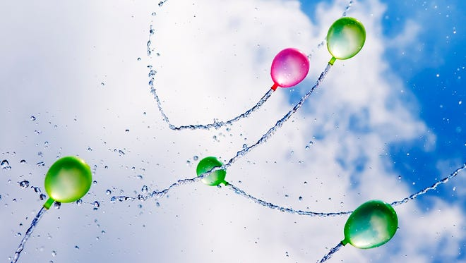 Water balloons propell themselves in the air.
