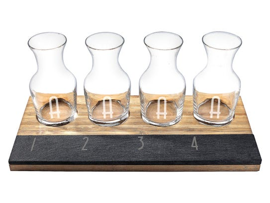 Cathy's Concepts four-piece monogram bamboo and slate