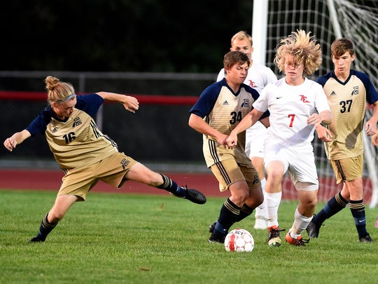Annville-Cleona High School boys soccer met Elco High School on the Dutchmen's field and fell to the Raiders 3-0. Annville's Trevan Elliott finds himself surrounded by a pack of Elco Raiders, Gavin Brown, Trey Donmoyer, Stephen Wiczalkowski and Chase Peiffer.