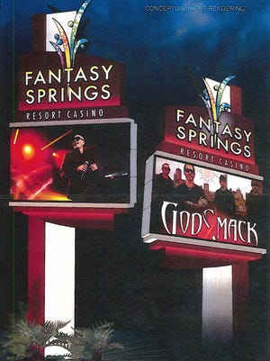 A rendering of the new sign being built at Fantasy Springs Resort Casino.