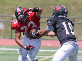 Sebastian Sanchez (left) and the Bernards football team defeated Delaware Valley for the first time on Wednesday.