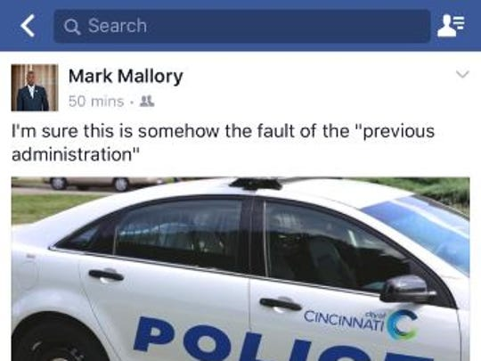 Screenshot of  former Mayor Mark Mallory's Facebook post on Thursday night.