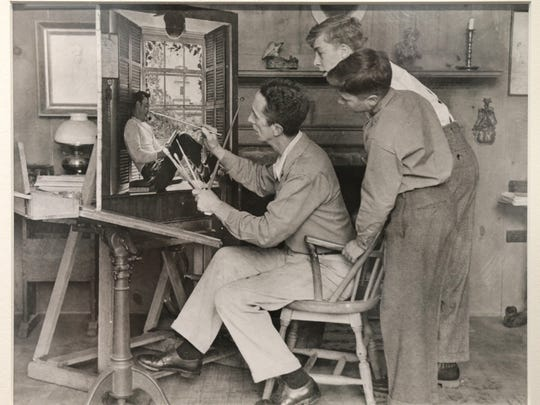 """This photo of artist Norman Rockwell is part of the exhibit """"Norman Rockwell: A Portrait of America,"""" which opens Tuesday at the Trout Museum of Art in downtown Appleton."""