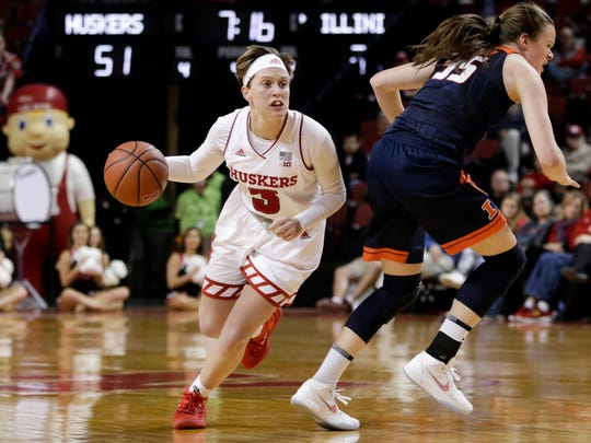 Nebraska's Hannah Whitish (3) drives around Illinois' Alex Wittinger (35) during the second half of an NCAA college basketball game in Lincoln, Neb., Thursday, Feb. 1, 2018. Nebraska has won five straight and eight of its last nine, including the victory over Illinois on Thursday night. (AP Photo/Nati Harnik)