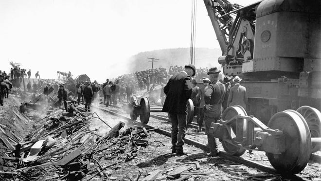 A large crowd descended on Vestal on June 9, 1901 after hearing the thunderous explosion of the train wreck.