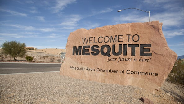 The city of Mesquite welcome sign.