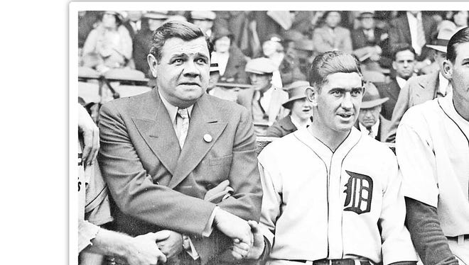 A Meeting of Celebrities... A Group of baseball celebrities show together before the start of the opening game of the world series between the ST.Louis Cardinals and the Detroit Tigers In Detroit, October 3. They are, from left to right: Jerome H.(Dizzy) Dean, Ace pitcher for the cards; Frankie Fri sch, peppery manager of the cards; babe Ruth of new York Yankee Fame; Mickey Cochran, Detroit's Manager; and schoolboy Rowe, Detroit Star, upon whose pitching much depends in the series.