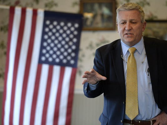 """Sen. Mike Folmer, a Republican who represents parts of York County, talks during an event in North Londonderry Township, Lebanon County, in April. Folmer, who sponsored medical marijuana legislation in the Senate said he was invited to a meeting with a House work group that met 10 times to discuss medical marijuana legislation. A nine-page memo with recommendations from the group was released this week. """"You can tell they worked hard on this,"""" Folmer said of the ad hoc group."""