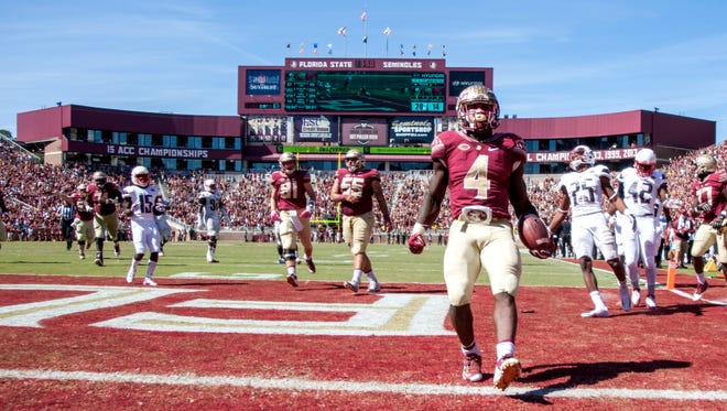 Florida State running back Dalvin Cook scores a touchdown in the second half of an NCAA college football game against Louisville in Tallahassee, Fla., Saturday, Oct. 17, 2015. Florida State won 41-21. (AP Photo/Mark Wallheiser) (AP Photo/Mark Wallheiser)