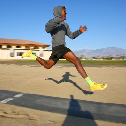 Xavier Prep triple jumper Jah Strange practices early in the morning at the school, May 25, 2016.