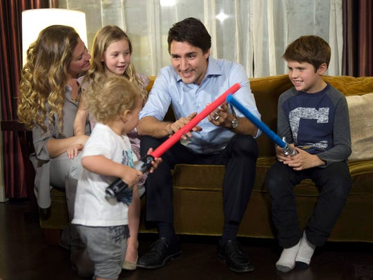 Liberal leader Justin Trudeau plays with son Hadrien
