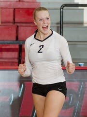 Megan Theiller celebrates a point for the Fairfield