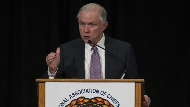 U.S. Attorney General Jeff Sessions speaks April 11, 2017, at the International Association of Chiefs of Police Division Midyear Conference at the Wigwam Resort in Litchfield Park, Ariz. Attorneys for former Maricopa County (Ariz.) sheriff Joe Arpaio said in a court filing Wednesday, April 12, 2017, they hoped to call Sessions as a witness during Arpaio's criminal-contempt trial.