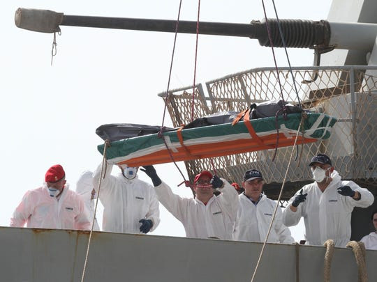 One of the 45 bodies of migrants that were recovered