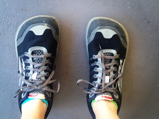 Shelley's weird-looking shoes that look like clown shoes.