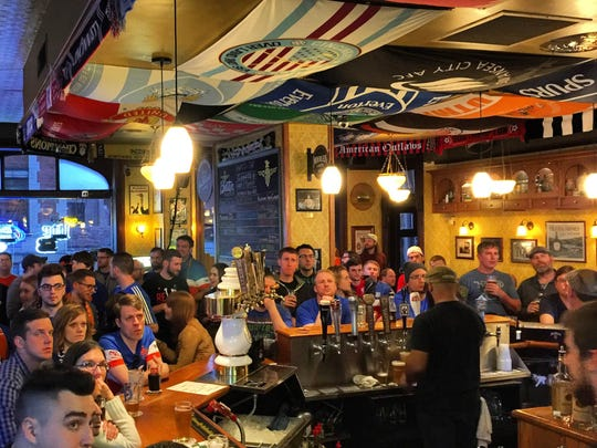 Multiple FC Cincinnati supporters groups gathered to watch the game at Molly Malone's Irish Pub and Restaurant at 112 E. Fourth Street in Covington.