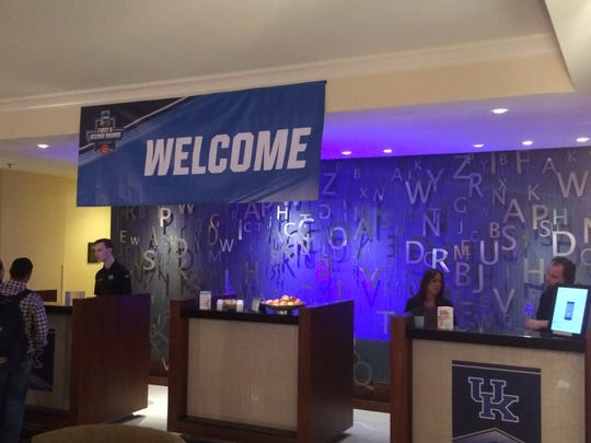 A University of Kentucky logo adorned the front desk at the Renaissance Savery Hotel.