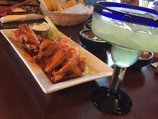 Spicy wings with Blue cheese and a virgin Margarita at Casa Luna in Somerville.