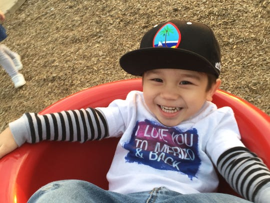 Caleb Santos is a 3-year-old in California learning