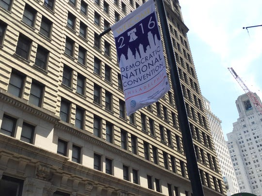 A banner for the Democratic National Convention hangs in Center City. The convention starts Monday in Philadelphia.