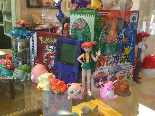 Some of the Pokemon items on display at the Art Center