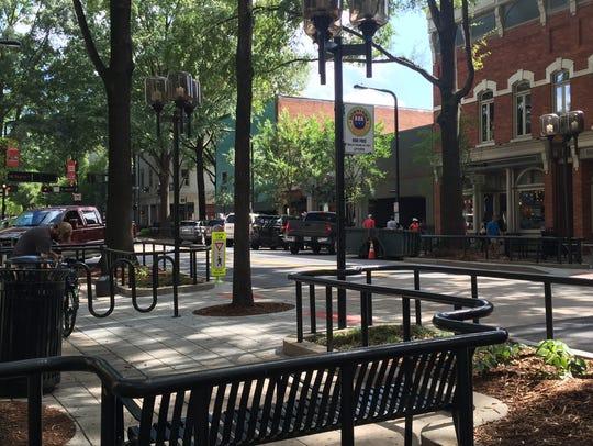 The Main Street scene in Greenville, South Carolina.